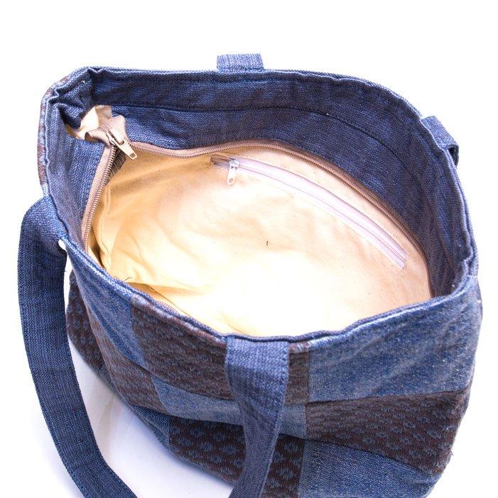 ベトナム ターイ族 手織り 格子柄トートバッグ