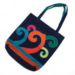 ベトナム ヌン族 手刺繍 カラフル大判トートバッグ(B)