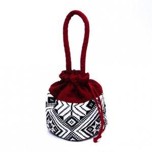 ベトナム ターイ族 手織り 巾着手提げバッグ