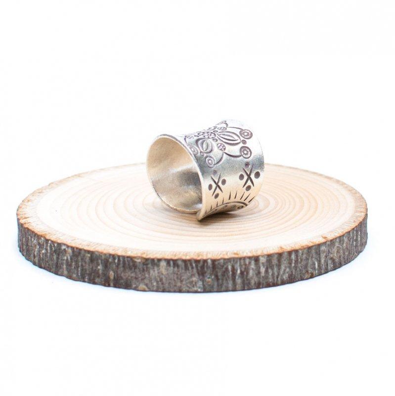 画像2:【カレン族シルバー リング・指輪】蓮の花文様の幅広アクセサリー
