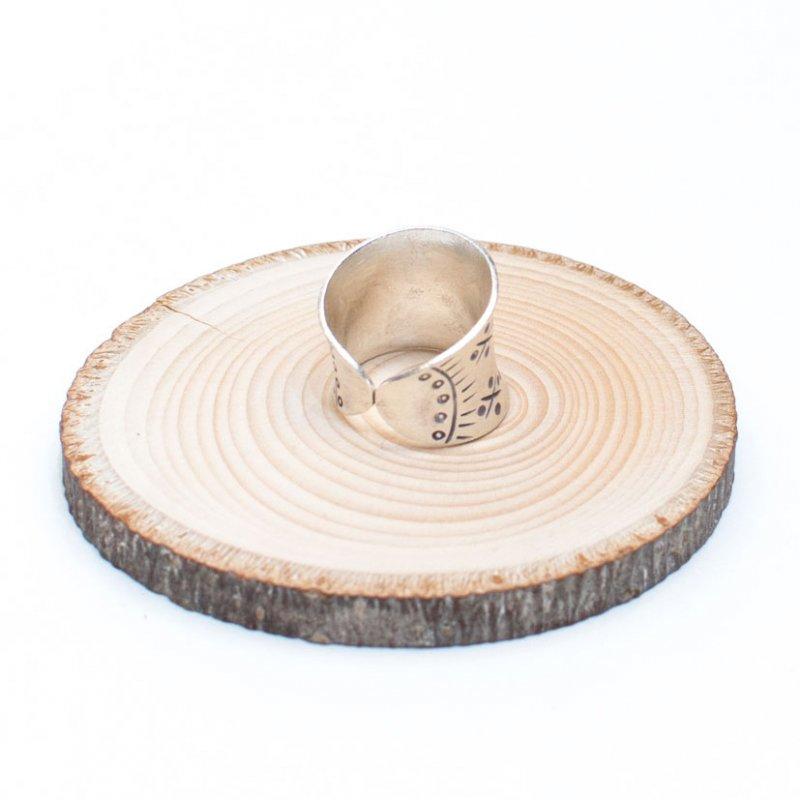 画像3:【カレン族シルバー リング・指輪】蓮の花文様の幅広アクセサリー