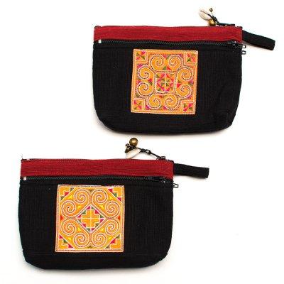 ThongPua モン族刺繍古布の両面ファスナーポーチ Type.1