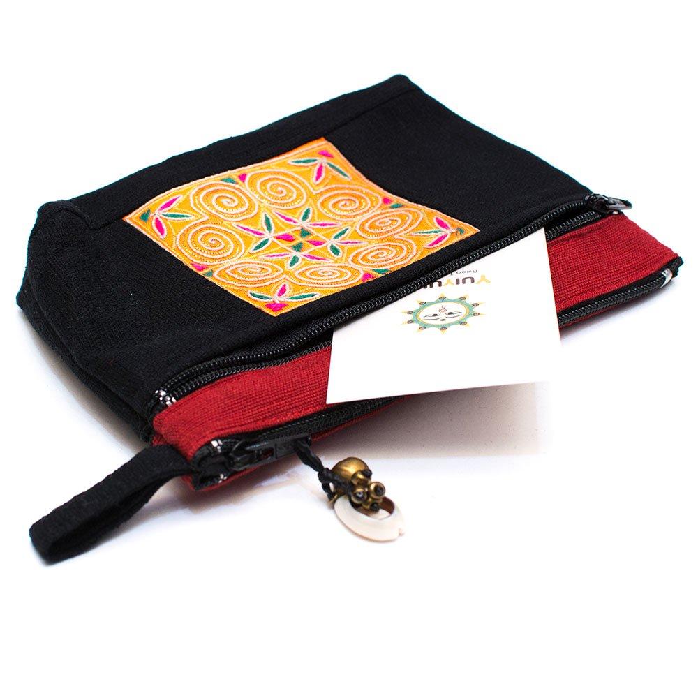 ThongPua モン族刺繍古布の両面ファスナーポーチ Type.2