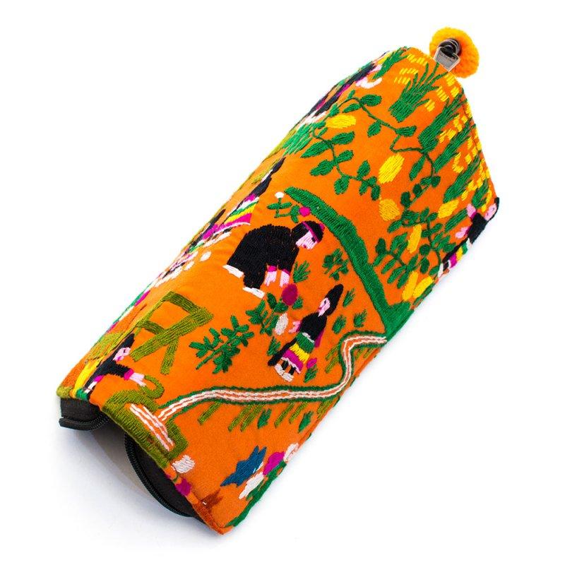 画像4:ラオス モン族のイラスト刺繍長財布 Type.2