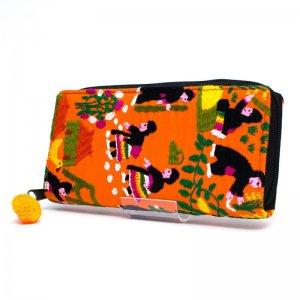 ラオス モン族のイラスト刺繍長財布 Type.2