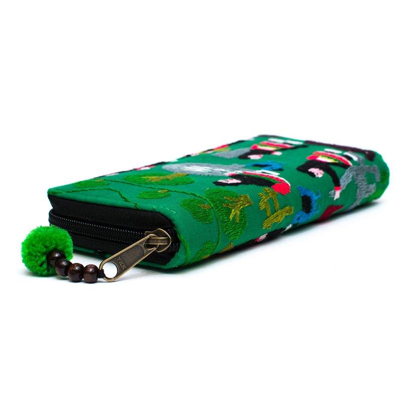 画像2:ラオス モン族のイラスト刺繍長財布 Type.4