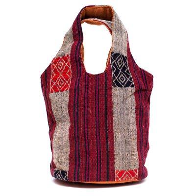 THANGEN ナガ族手織り布の巾着トートバッグ Type.2