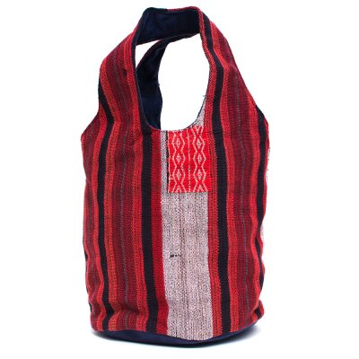 THANGEN ナガ族手織り布の巾着トートバッグ Type.3