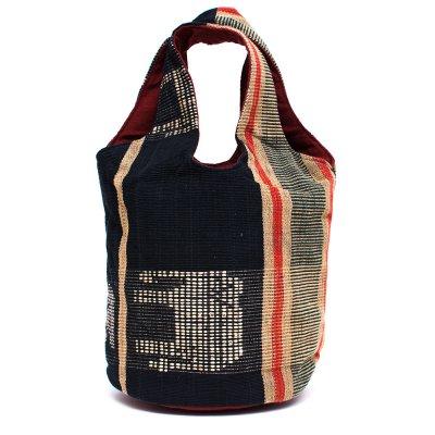 THANGEN ナガ族手織り布の巾着トートバッグ Type.4