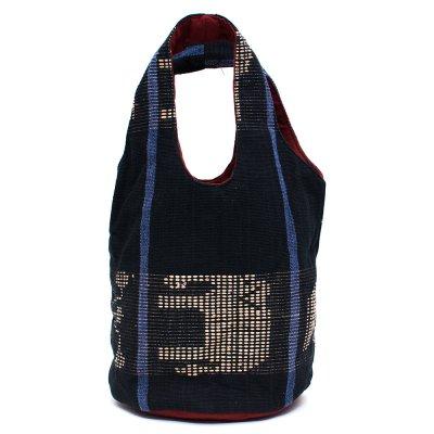 THANGEN ナガ族手織り布の巾着トートバッグ Type.5