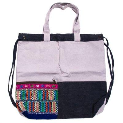 THANGEN カレン族手織り布の2way巾着トートバッグ Type.6