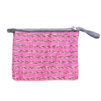 A Bu-Ali(アブアリ)カレン族手織り布のダブルポケットポーチ