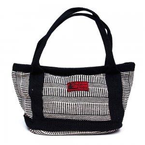 <フェアトレード>WSDO 手織布のランチバッグ(ブラック)Type.4