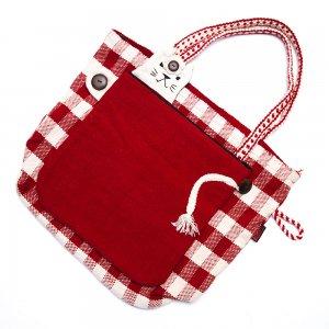 <フェアトレード>WSDO 手織布のアニマルトートバッグ(猫・レッド)