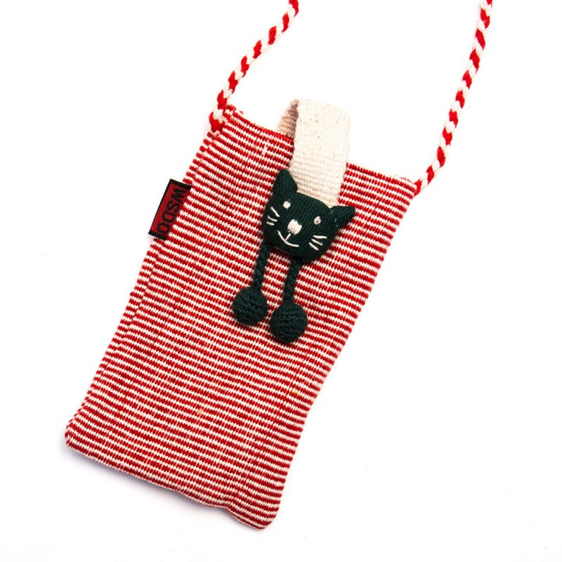 <フェアトレード>WSDO アニマル スマホポーチ(猫)Type.2