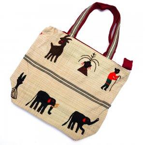ナガ族 手織布と手刺繍の大判巾着トートバッグ Type.1