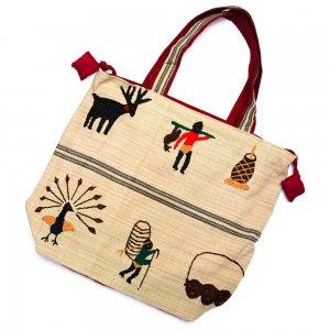 ナガ族 手織布と手刺繍の大判巾着トートバッグ Type.2