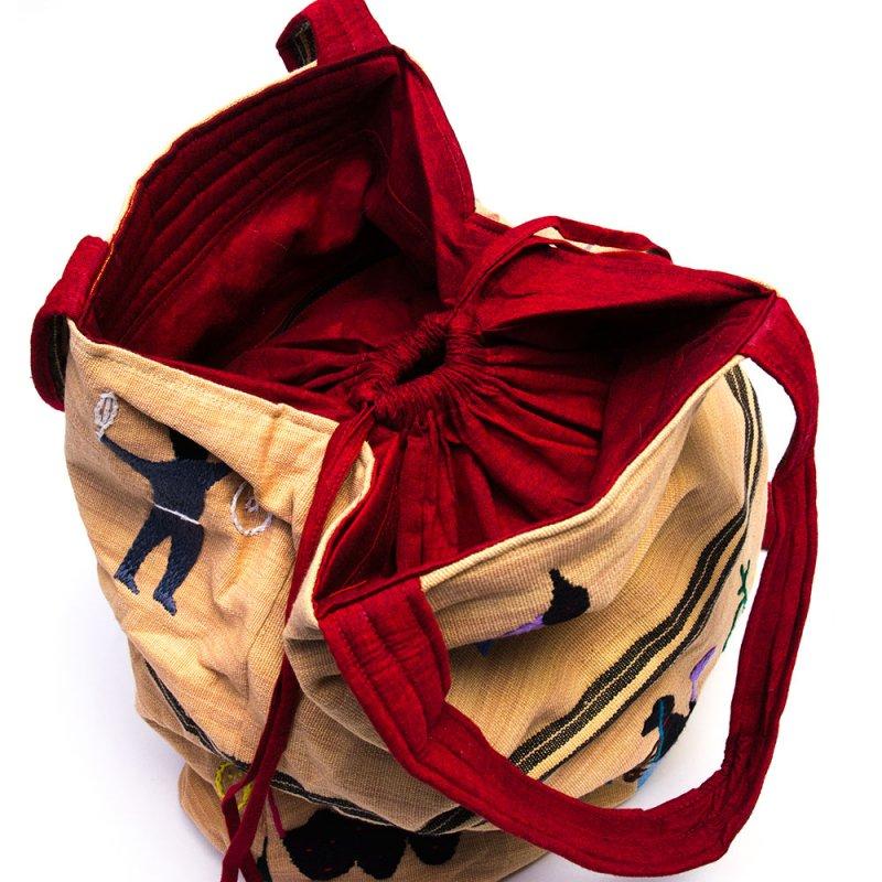 ナガ族 手織布と手刺繍の大判巾着トートバッグ Type.3