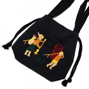 ナガ族 手織布と手刺繍の巾着トートバッグ Type.1