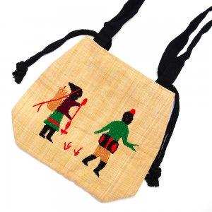 ナガ族 手織布と手刺繍の巾着トートバッグ Type.2
