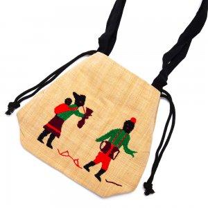 ナガ族 手織布と手刺繍の巾着トートバッグ Type.3