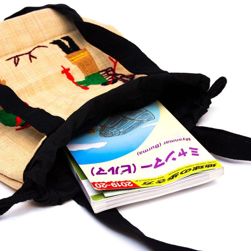画像2:ナガ族 手織布と手刺繍の巾着トートバッグ Type.4