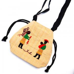 ナガ族 手織布と手刺繍の巾着トートバッグ Type.4