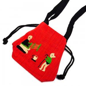 ナガ族 手織布と手刺繍の巾着トートバッグ Type.5