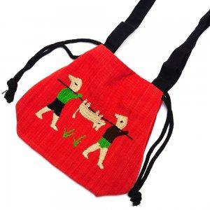 ナガ族 手織布と手刺繍の巾着トートバッグ Type.6