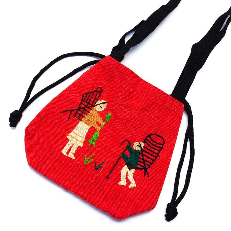 ナガ族 手織布と手刺繍の巾着トートバッグ Type.7