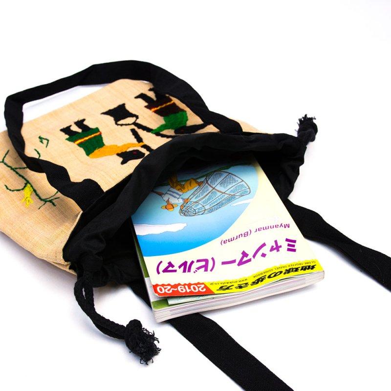 ナガ族 手織布と手刺繍の巾着トートバッグ Type.8