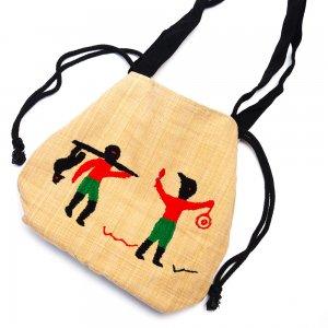 ナガ族 手織布と手刺繍の巾着トートバッグ Type.9