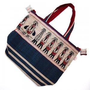 ナガ族 手織布と手刺繍の大判巾着トートバッグ Type.5