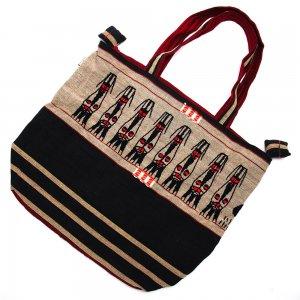 ナガ族 手織布と手刺繍の大判巾着トートバッグ Type.6