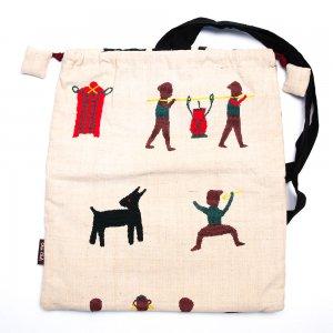 チン族 手織布と手刺繍のナップサック Type.1