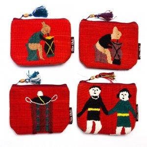 ミャンマー チン族 手刺繍の小物ポーチ Type.6