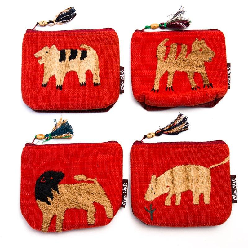 ミャンマー チン族 手刺繍の小物ポーチ Type.8