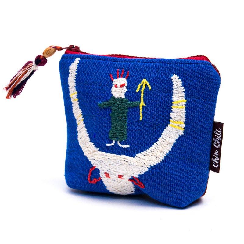 ミャンマー チン族 手刺繍の小物ポーチ Type.15