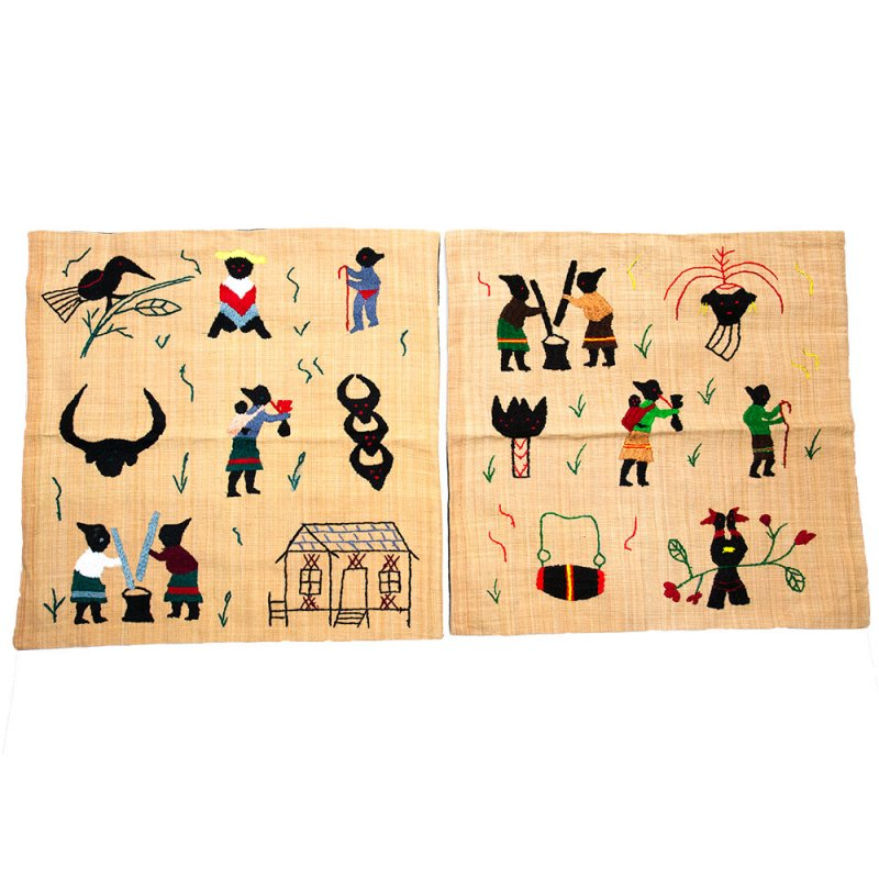 ナガ族 手織布と手刺繍のクッションカバー Type.5
