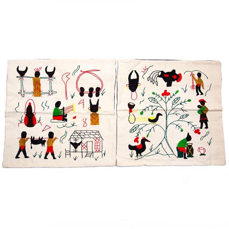ナガ族 手織布と手刺繍のクッションカバー Type.9