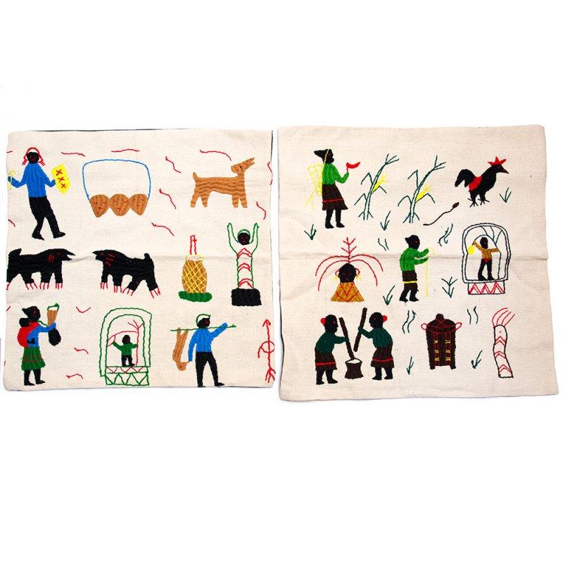 画像4:ナガ族 手織布と手刺繍のクッションカバー Type.10