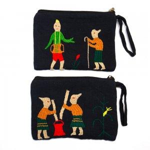 ミャンマー ナガ族 民族手刺繍のポーチ Type.3