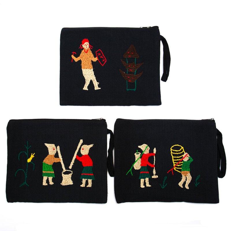 ミャンマー ナガ族 手刺繍のタブレットケース Type.4
