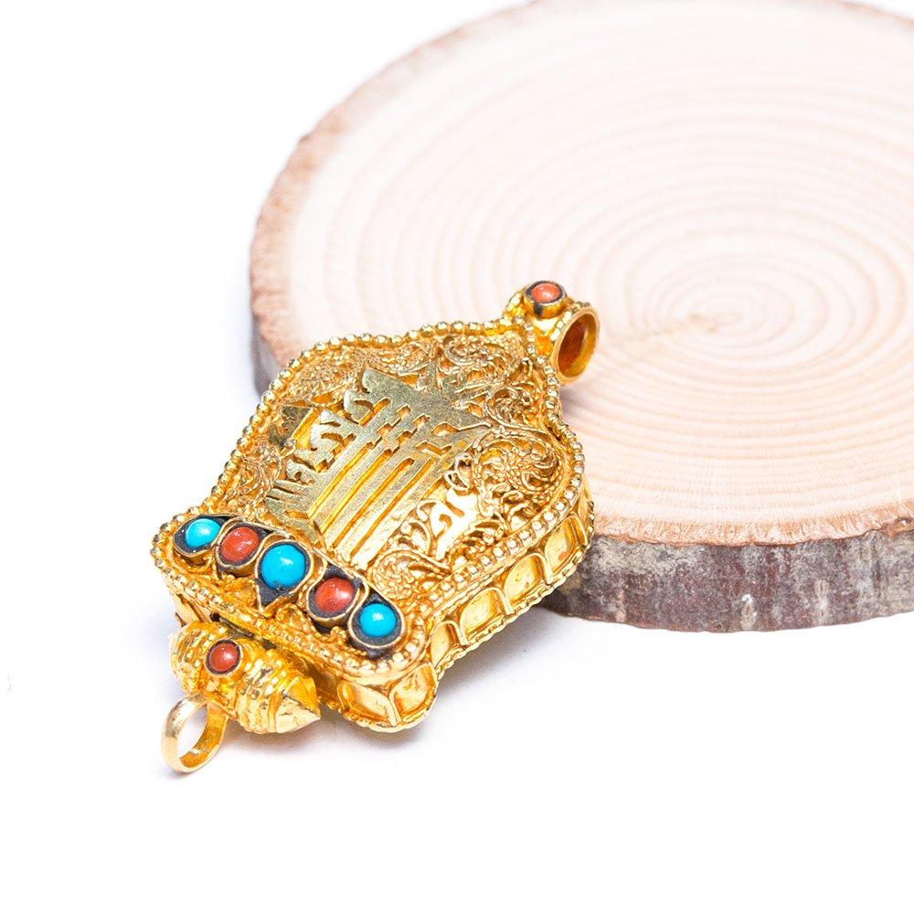 【チベット密教仏具】カーラチャクラが刻まれたガウペンダント(金メッキ仕様)