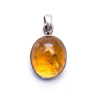 天然石 アンバー(琥珀)シルバーペンダントトップ