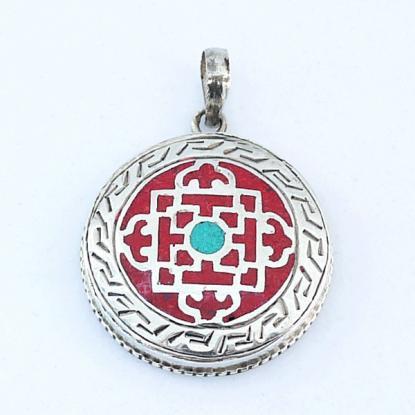 【チベット民族 曼荼羅アクセサリー】マンダラ チベタン シルバー925 エスニックペンダントトップ