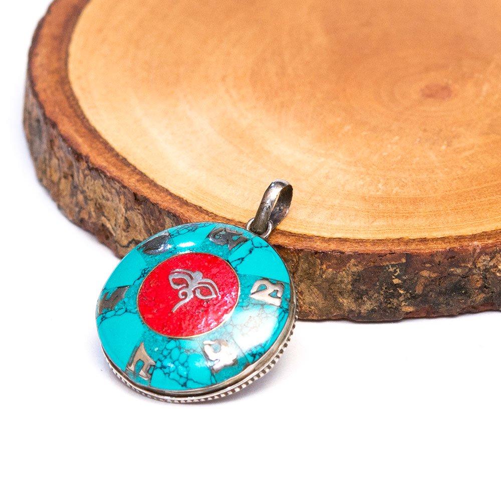 【チベット民族 ブッダアイアクセサリー】ネパール 真言 梵字 シルバー925 トライバルペンダントトップ