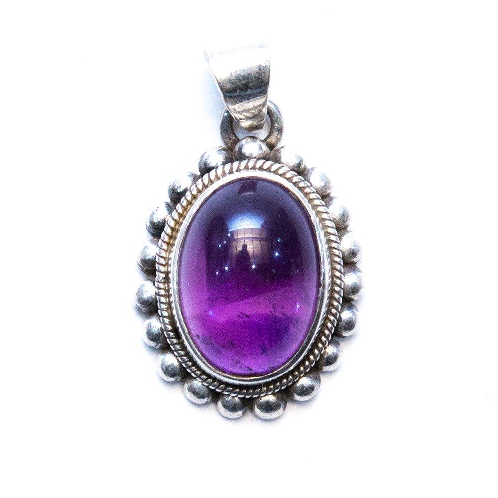 【天然石アメジストアクセサリー】紫水晶 パワーストーン シルバー925 トライバルペンダントトップ