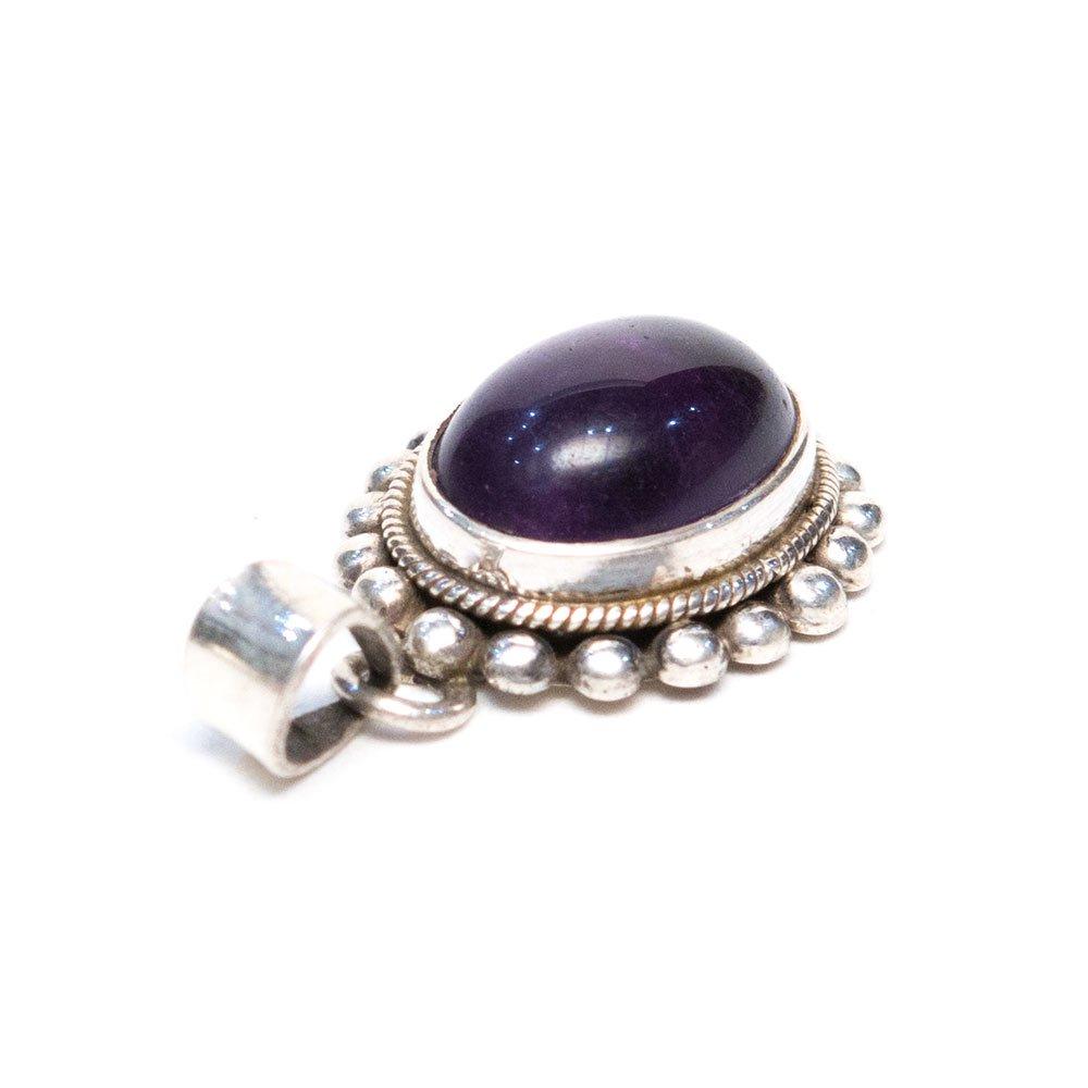 画像2:【天然石アメジストアクセサリー】紫水晶 パワーストーン シルバー925 トライバルペンダントトップ