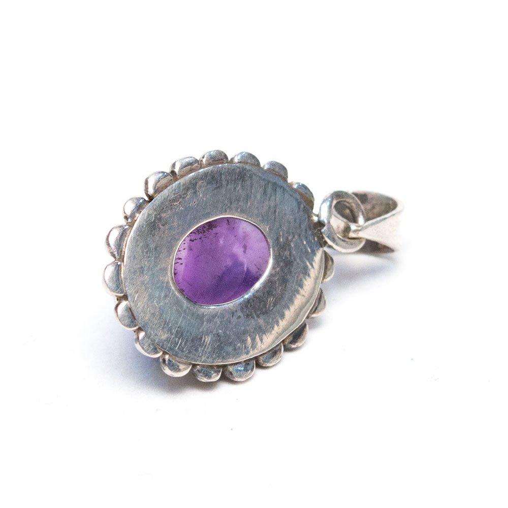 画像3:【天然石アメジストアクセサリー】紫水晶 パワーストーン シルバー925 トライバルペンダントトップ